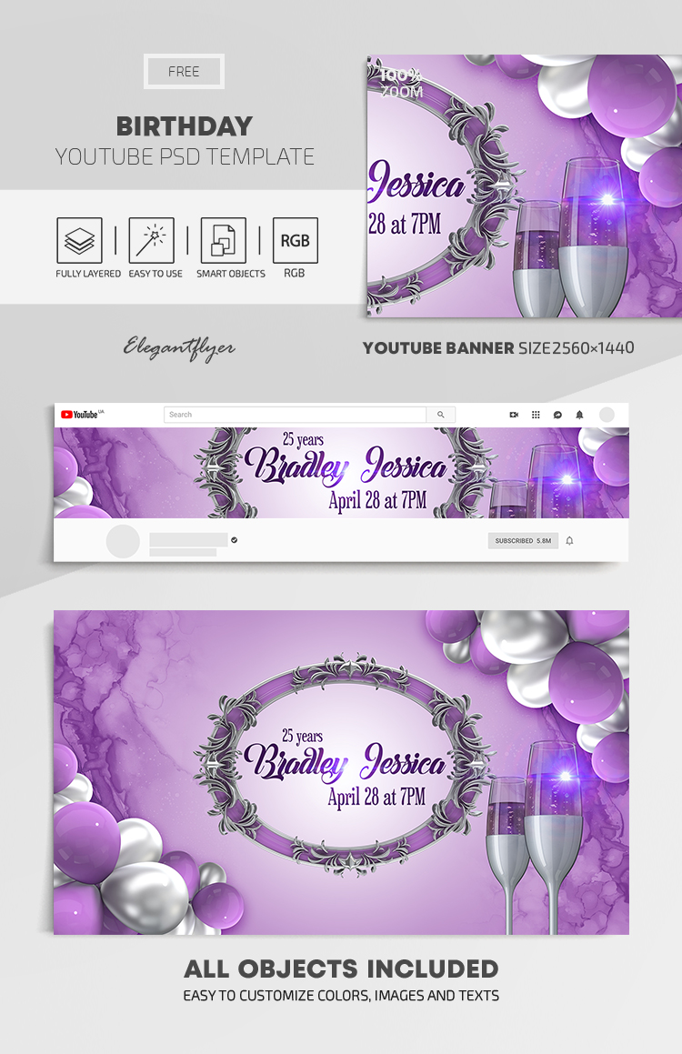 Birthday Invitation – Free Youtube Channel banner PSD Template