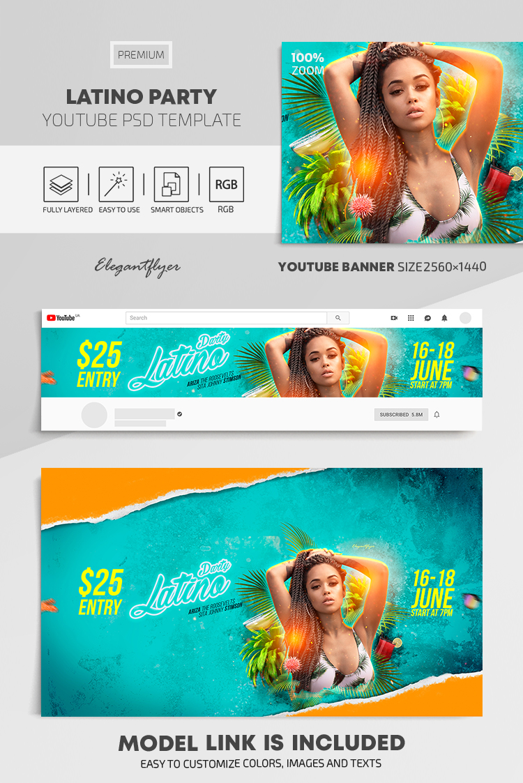 Latino Party – Youtube Channel banner PSD Template