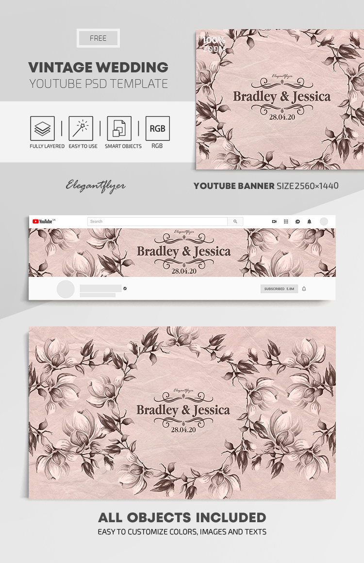 Vintage Wedding – Free Youtube Channel banner PSD Template