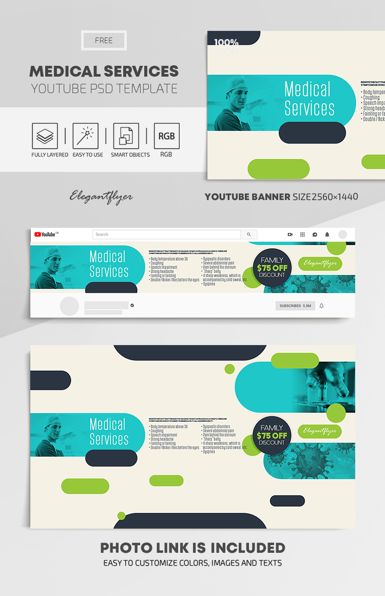 Medical Services – Free Youtube Channel banner PSD Template