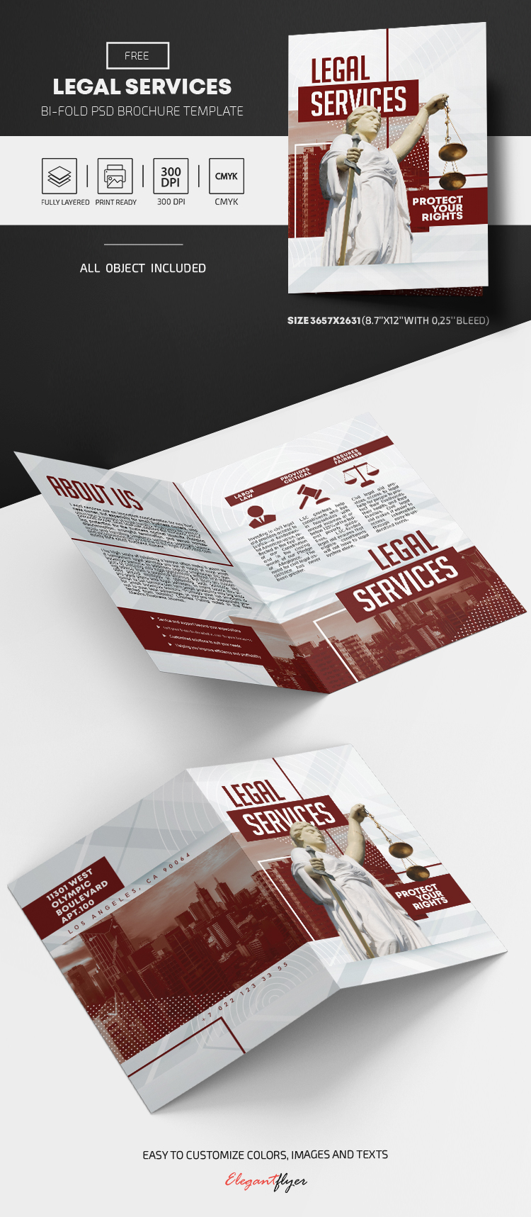 Legal Services – Free Bi-Fold Brochure PSD Template