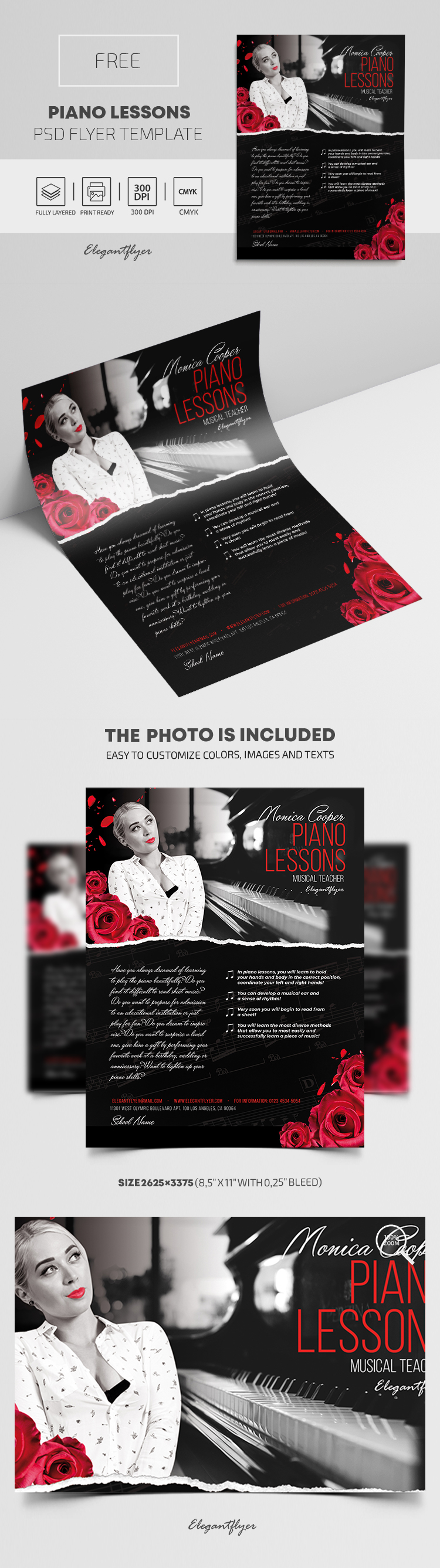 Piano Lessons – Free PSD Flyer Template