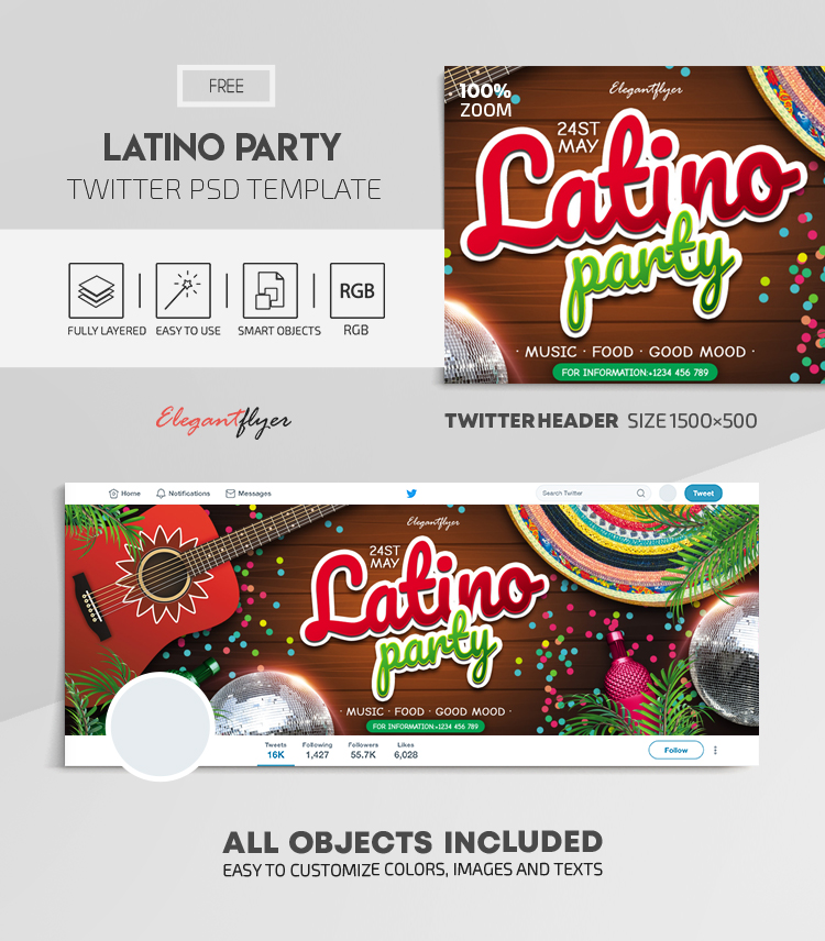 Latino Party – Free Twitter Header PSD Template