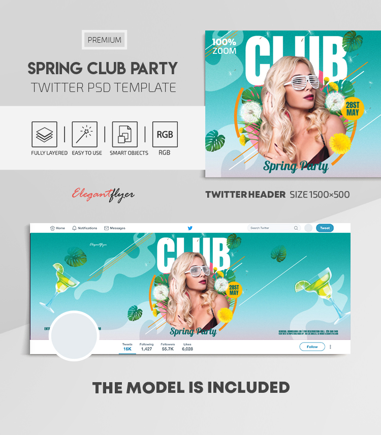 Spring Club Party – Twitter Header PSD Template