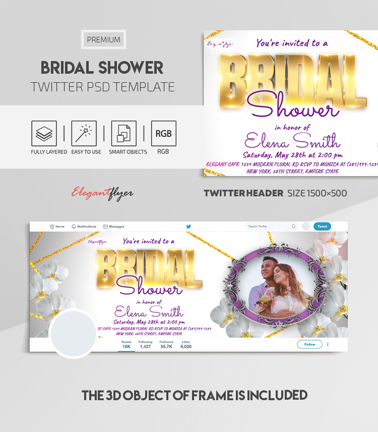 Bridal Shower – Twitter Header PSD Template