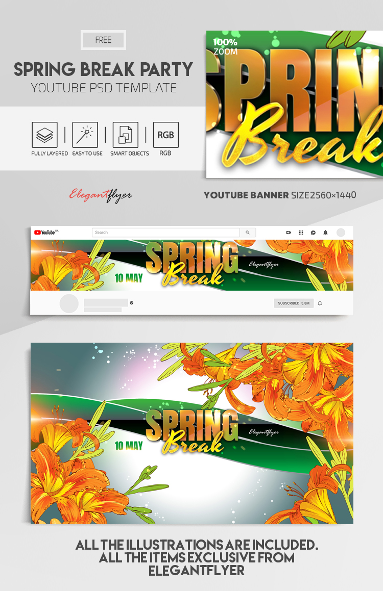 Spring Break Party – Free Youtube Channel banner PSD Template