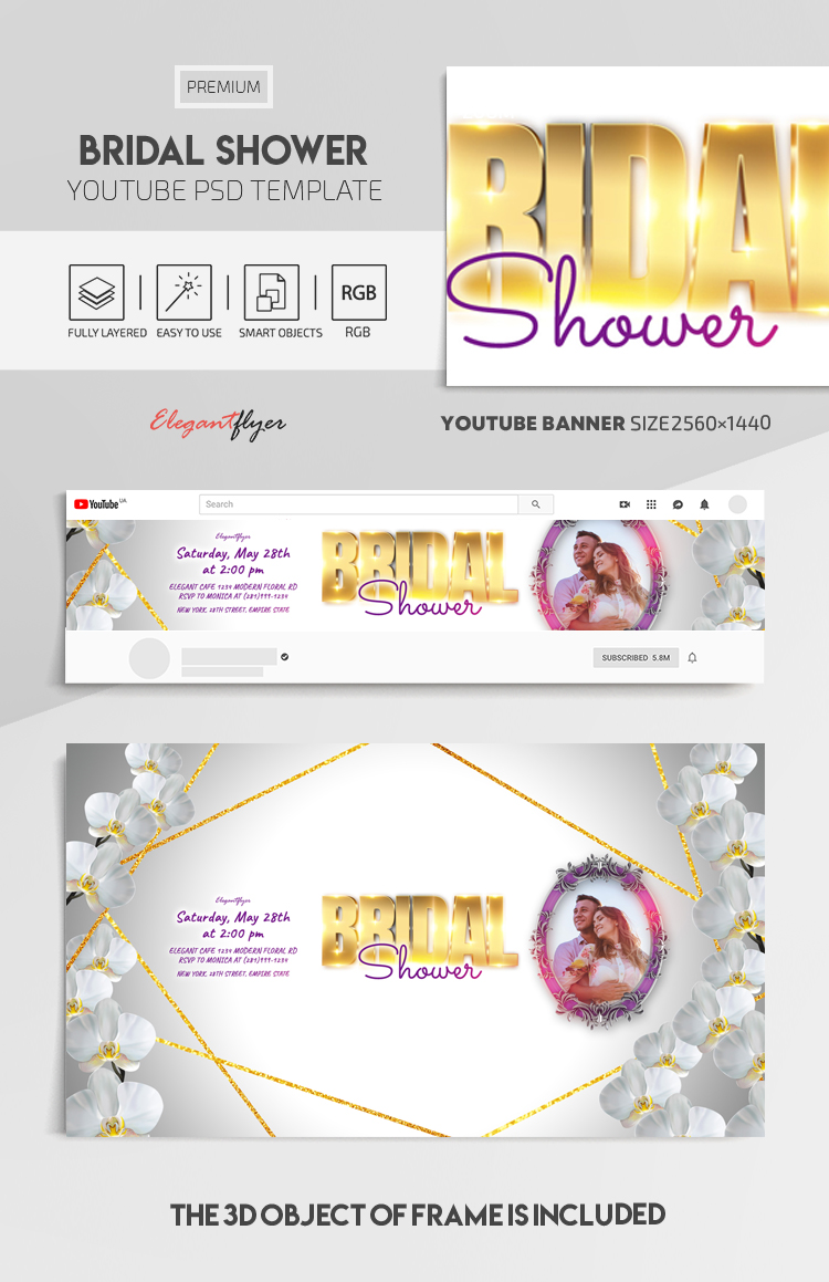 Bridal Shower – Youtube Channel banner PSD Template