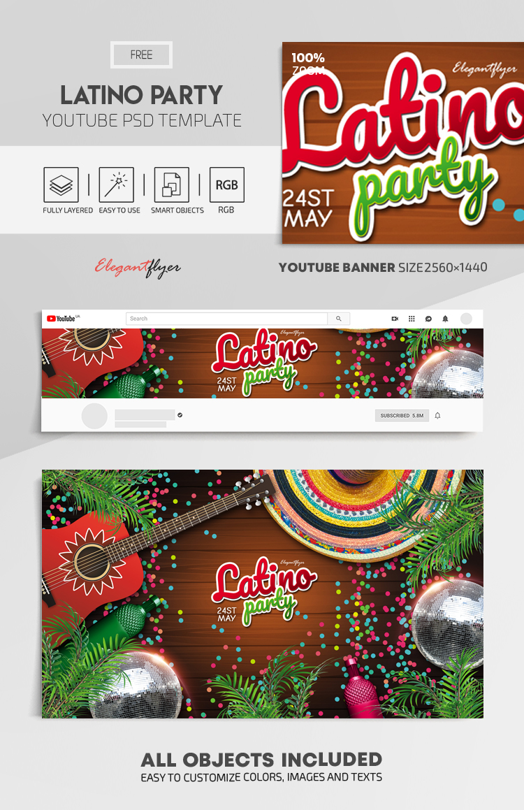 Latino Party – Free Youtube Channel banner PSD Template