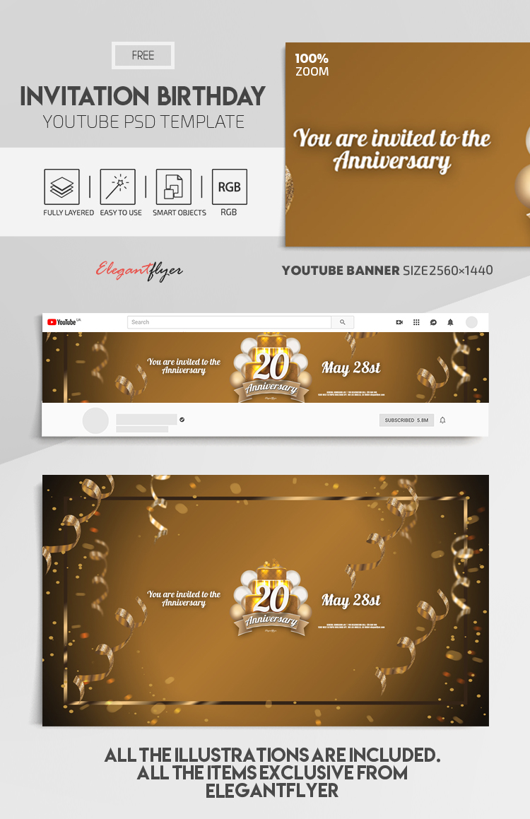 Invitation Birthday – Free Youtube Channel banner PSD Template