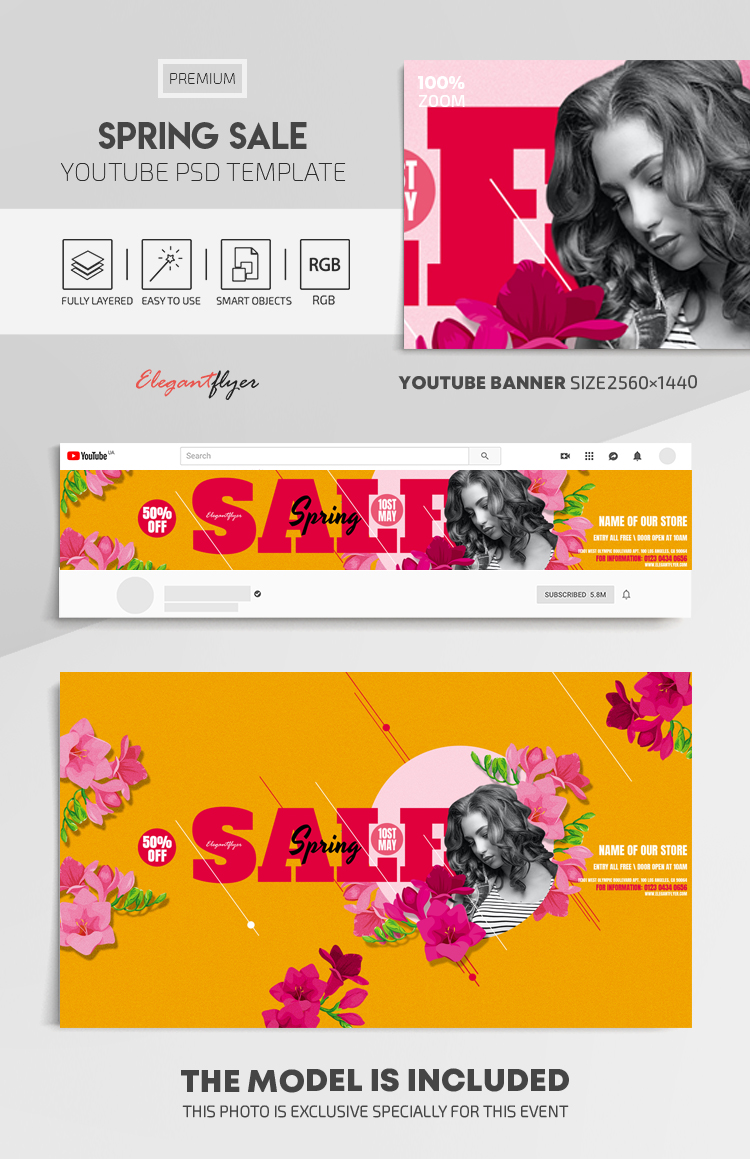 Spring Sale – Youtube Channel banner PSD Template