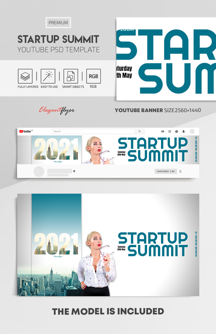Startup Summit – Youtube Channel banner PSD Template