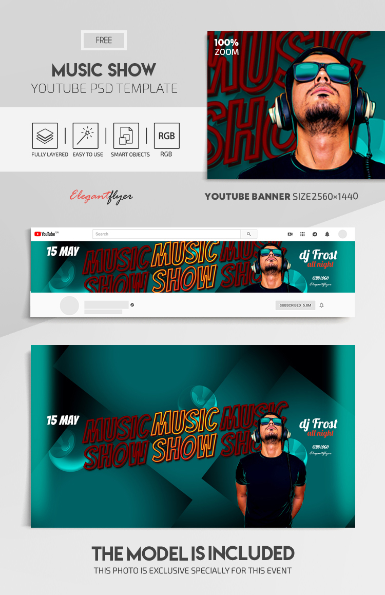 Music Show – Free Youtube Channel banner PSD Template