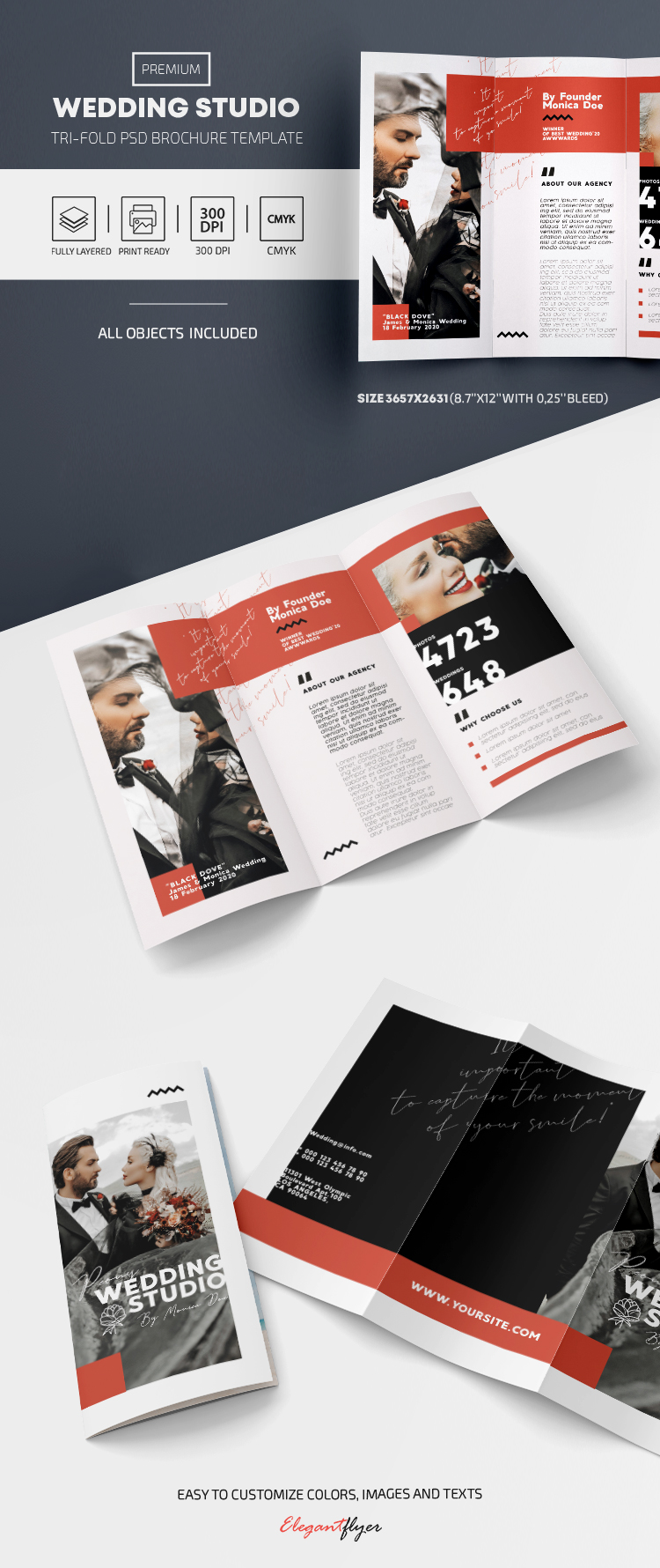 Wedding Studio – Premium Tri-Fold PSD Template
