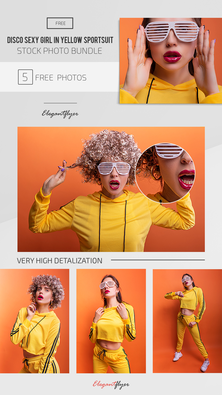 Disco Sexy Girl In Yellow Sportsuit – 5 Free Stock Photo Bundle