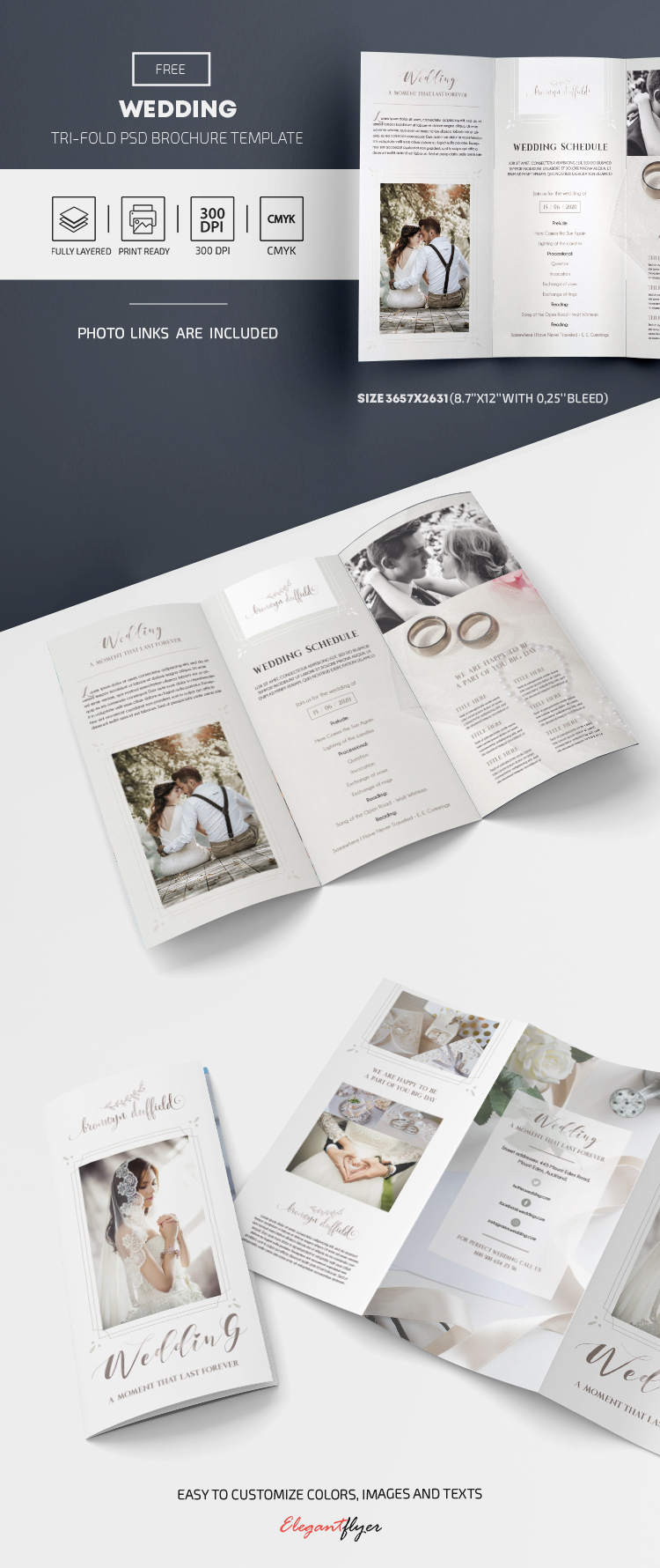 Wedding – Free Tri-Fold Brochure Template