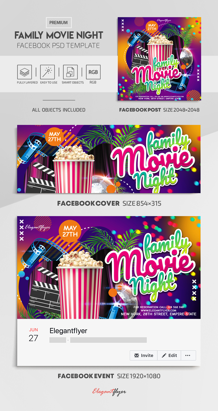 Family Movie Night – Facebook Cover Template in PSD + Post + Event cover