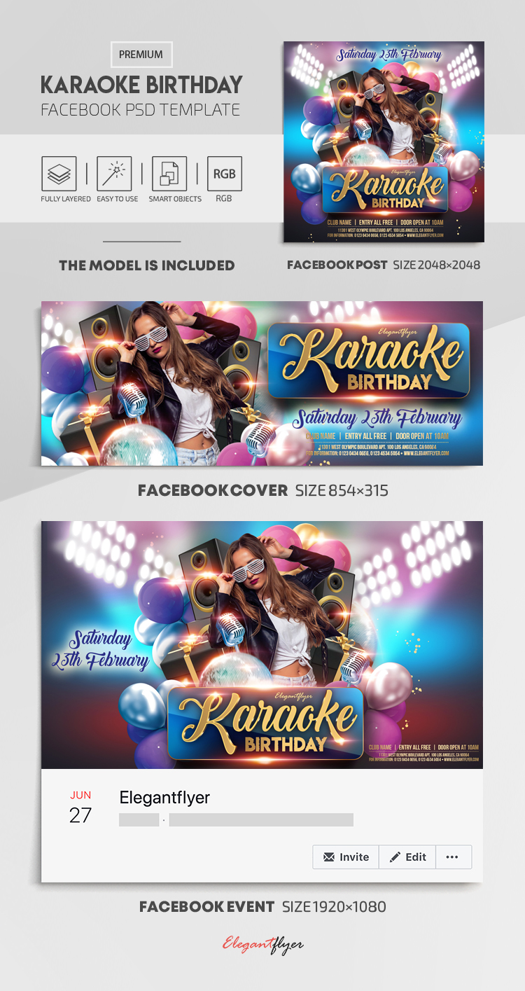 Karaoke Birthday – Facebook Cover Template in PSD + Post + Event cover
