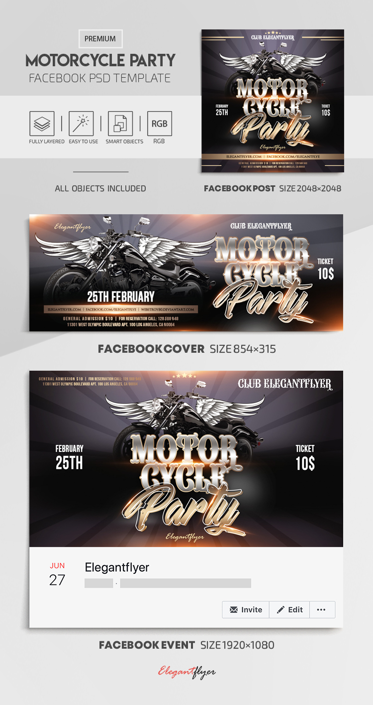 Motorcycle Party – Facebook Cover Template in PSD + Post + Event cover