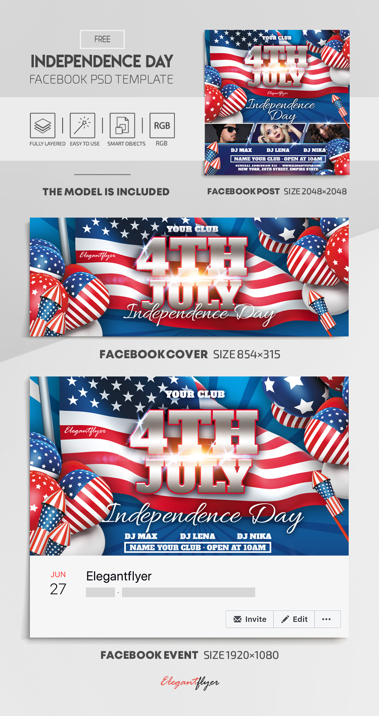 Independence Day – Free Facebook Cover Template in PSD + Post + Event cover