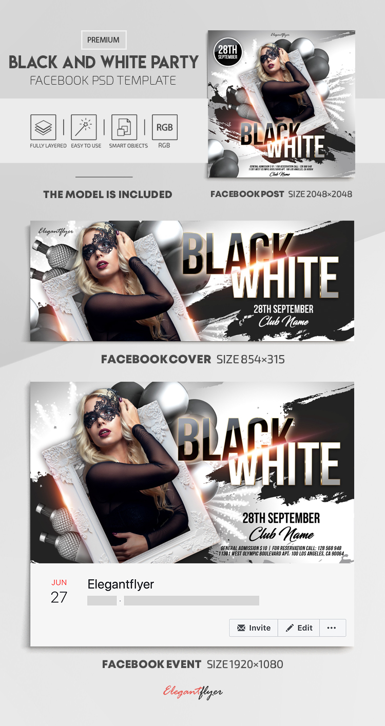Black and White Party – Facebook Cover Template in PSD + Post + Event cover