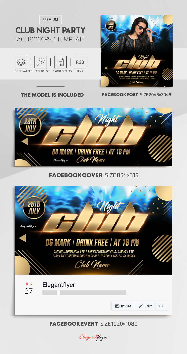 Club Night Party – Facebook Cover Template in PSD + Post + Event cover