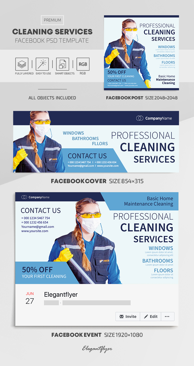 Cleaning Services – Facebook Cover Template in PSD + Post + Event cover