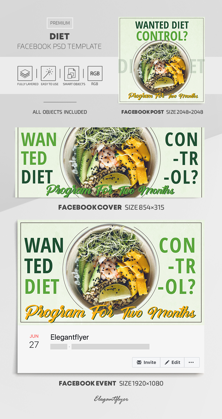 Diet – Facebook Cover Template in PSD + Post + Event cover