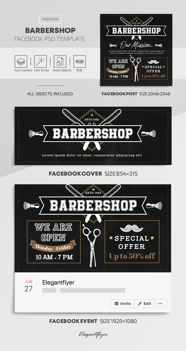 Barbershop – Facebook Cover Template in PSD + Post + Event cover