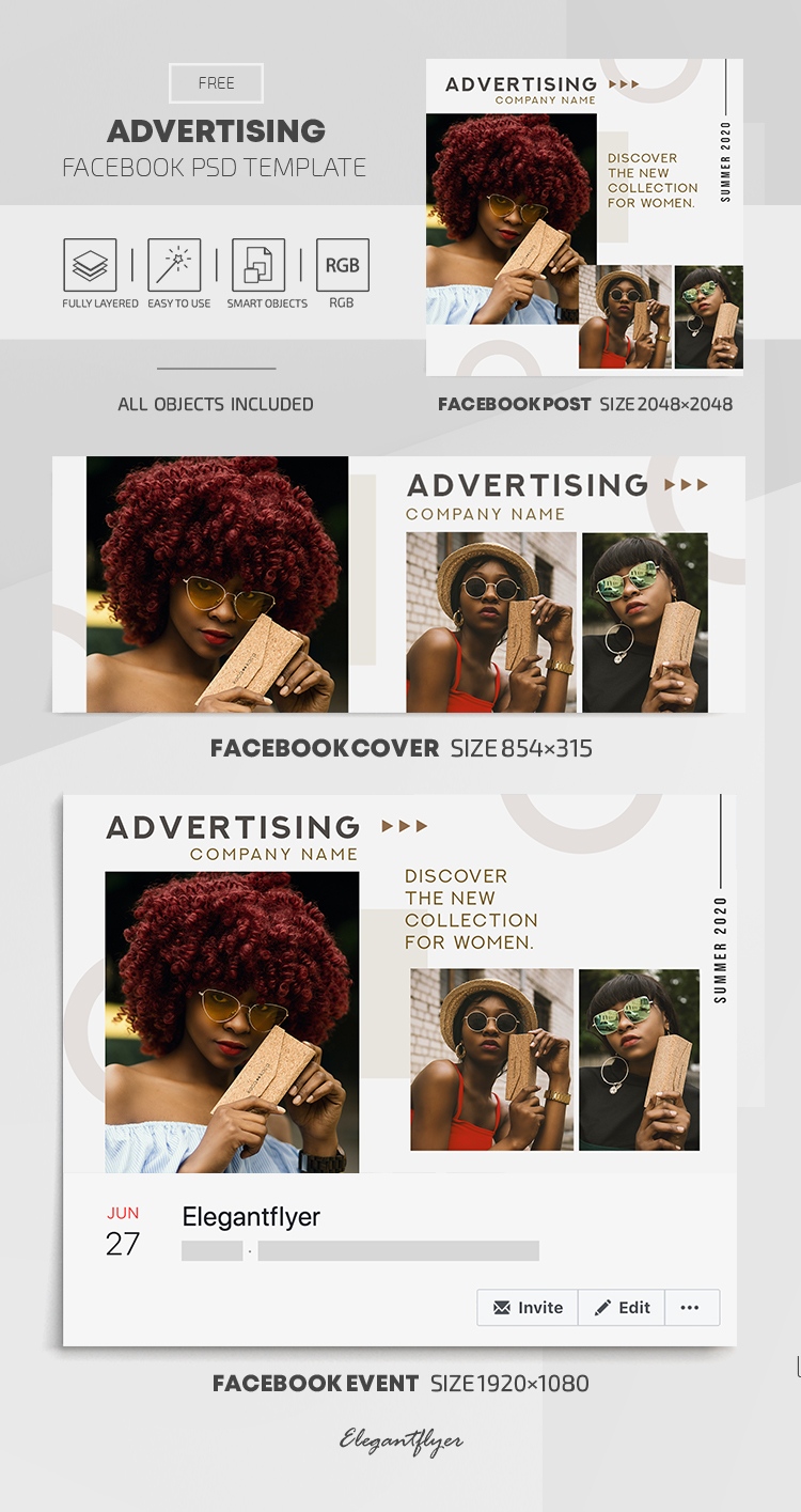 Advertising – Free Facebook Cover Template in PSD + Post + Event cover