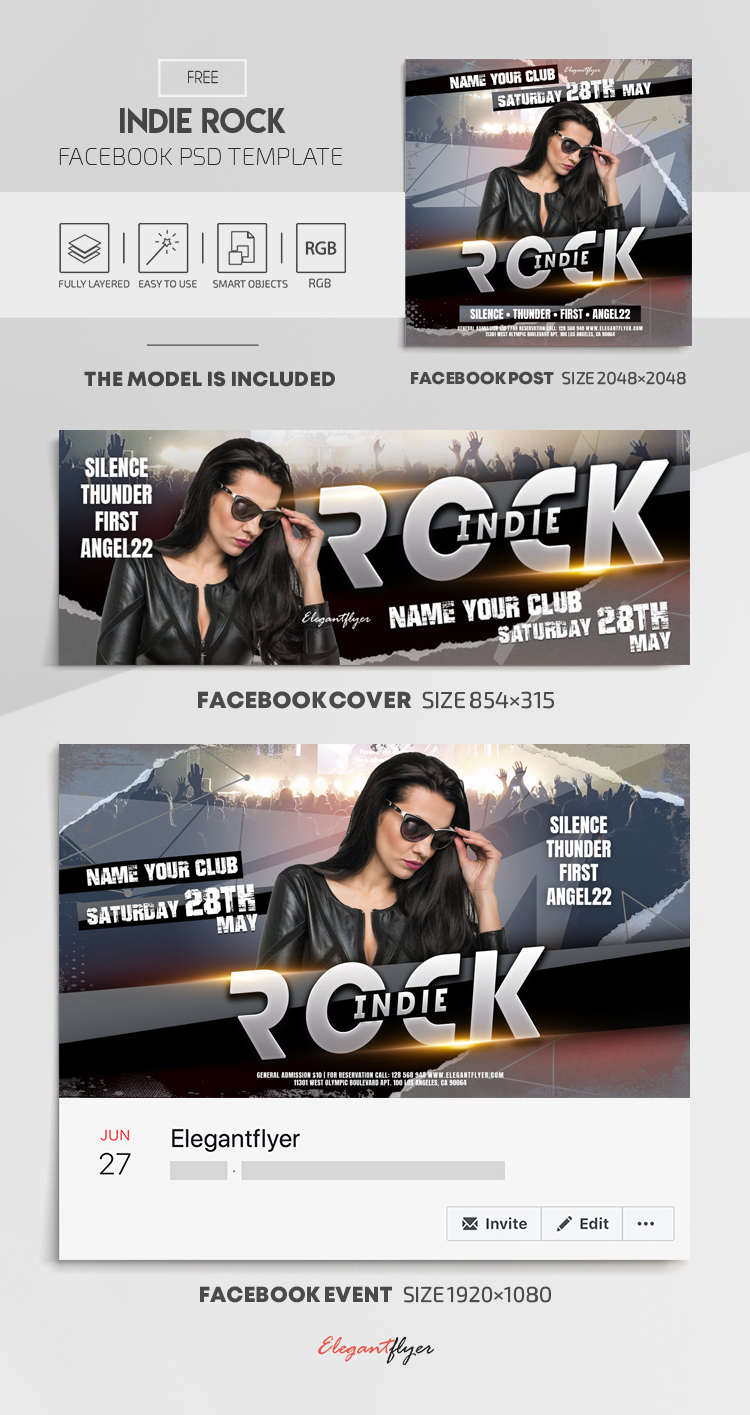 Indie Rock – Free Facebook Cover Template in PSD + Post + Event cover