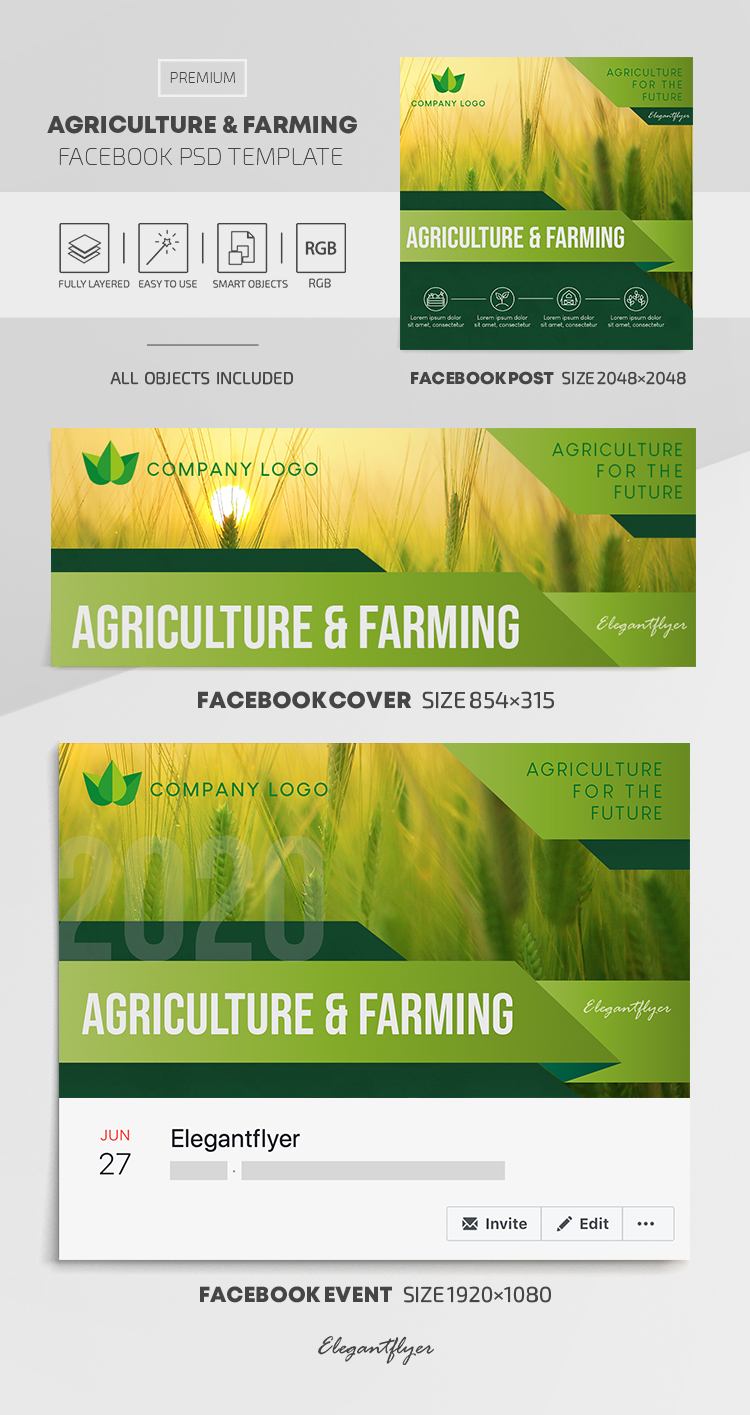 Agriculture and Farming – Facebook Cover Template in PSD + Post + Event cover