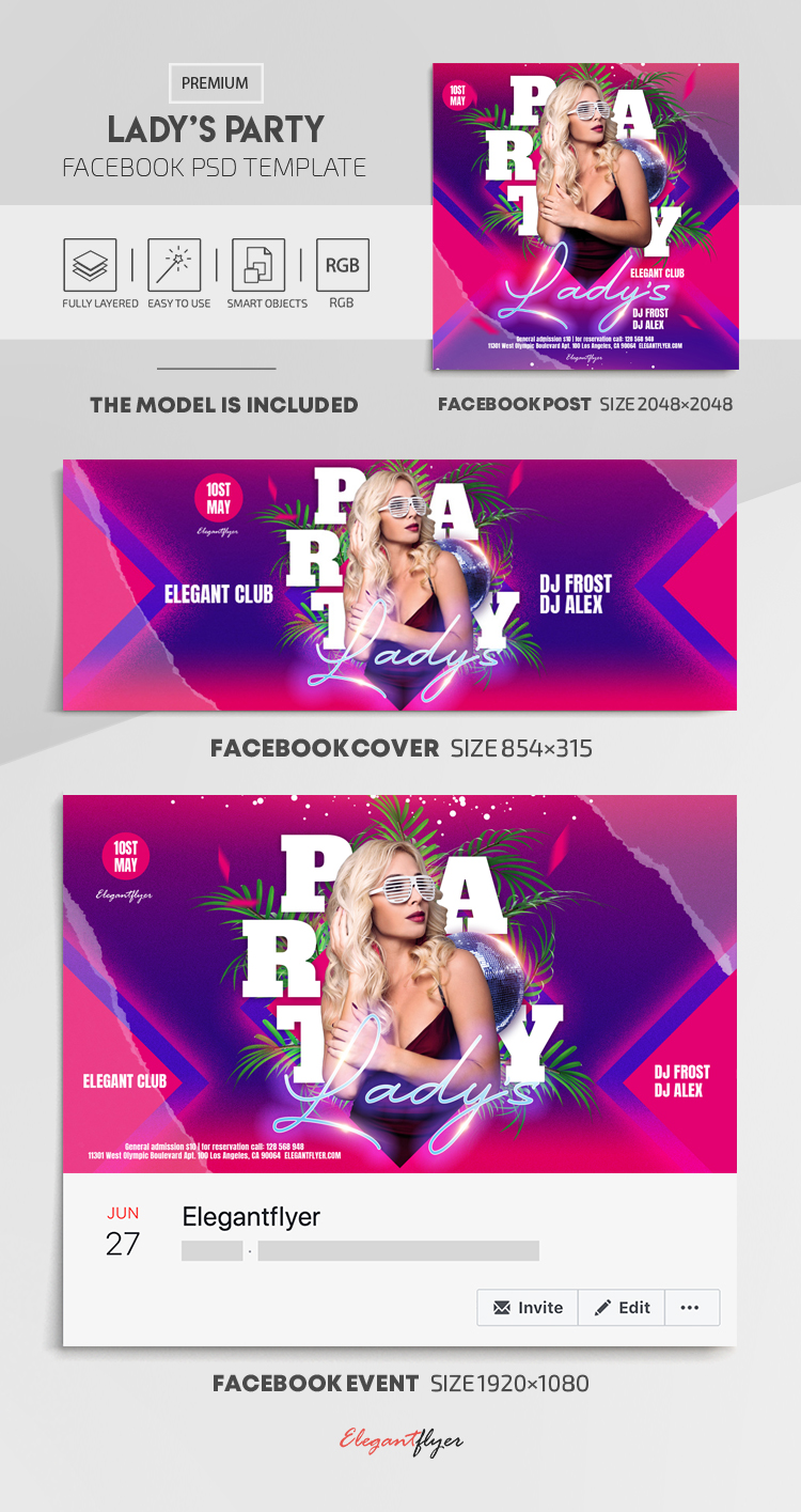 Lady's Party – Facebook Cover Template in PSD + Post + Event cover