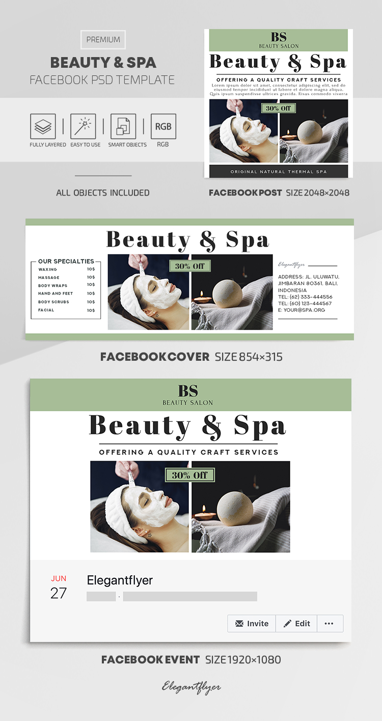 Beauty and Spa – Facebook Cover Template in PSD + Post + Event cover