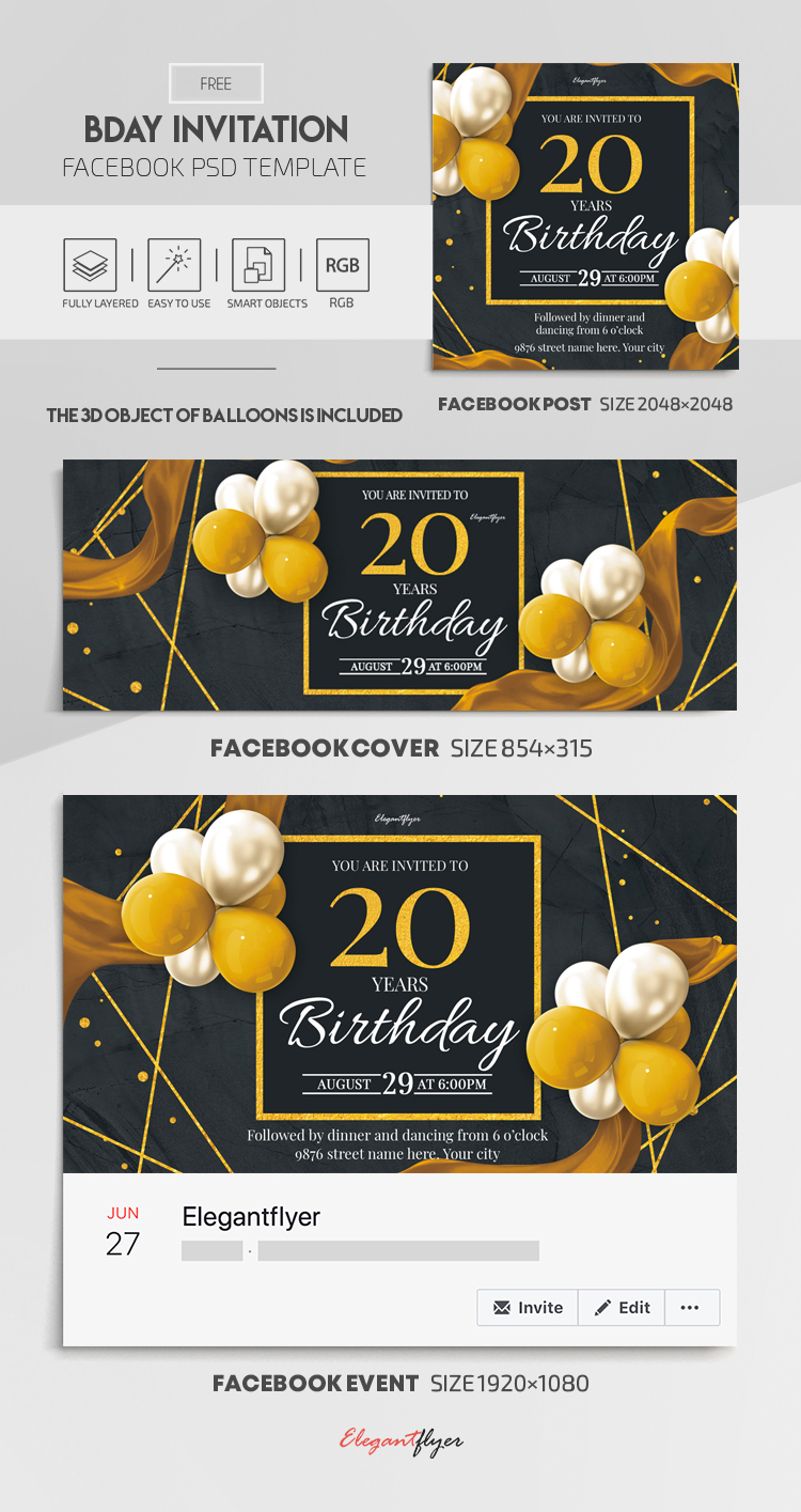 Bday Invitation – Free Facebook Cover Template in PSD + Post + Event cover
