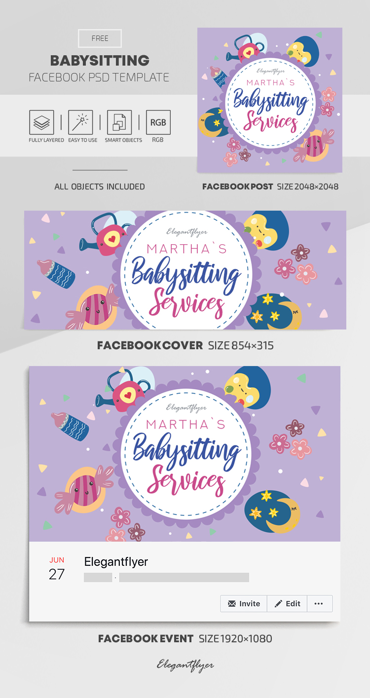 Babysitting – Free Facebook Cover Template in PSD + Post + Event cover