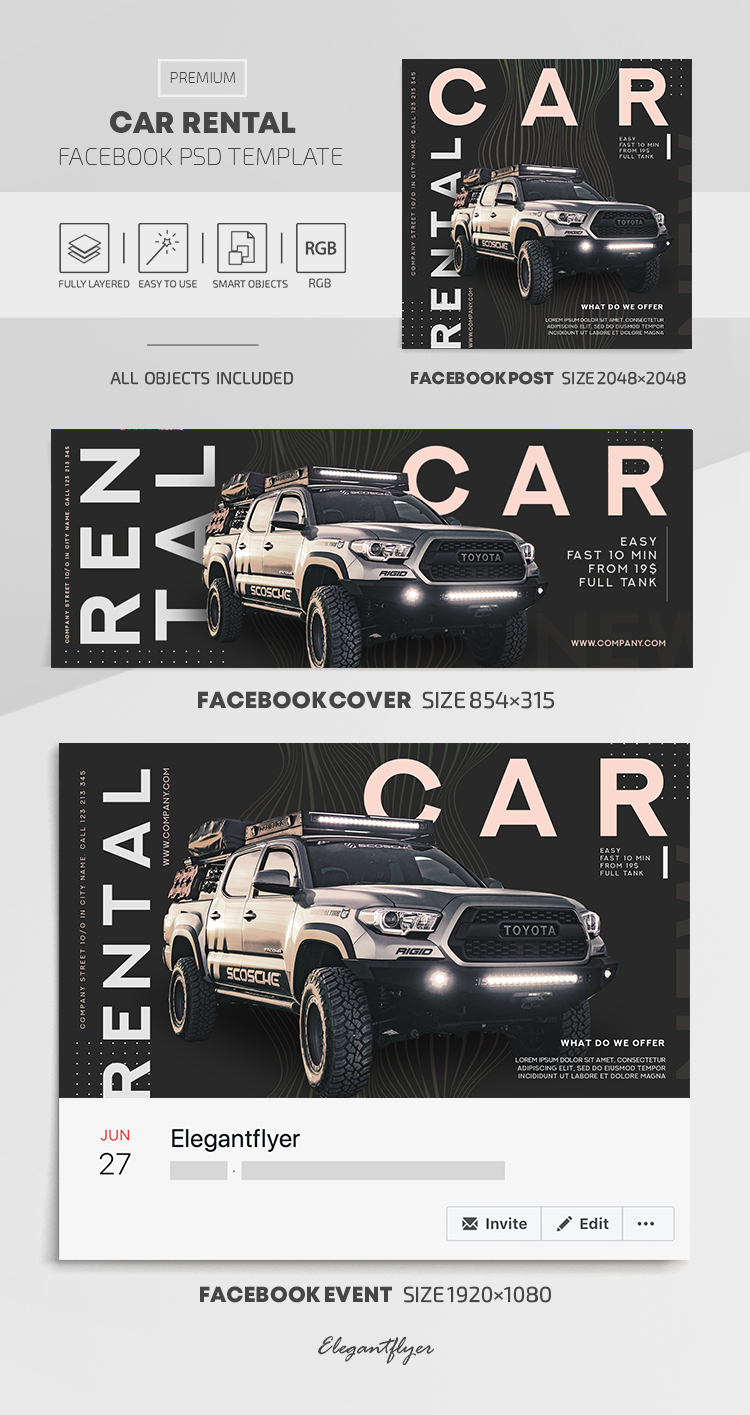 Car Rental – Facebook Cover Template in PSD + Post + Event cover