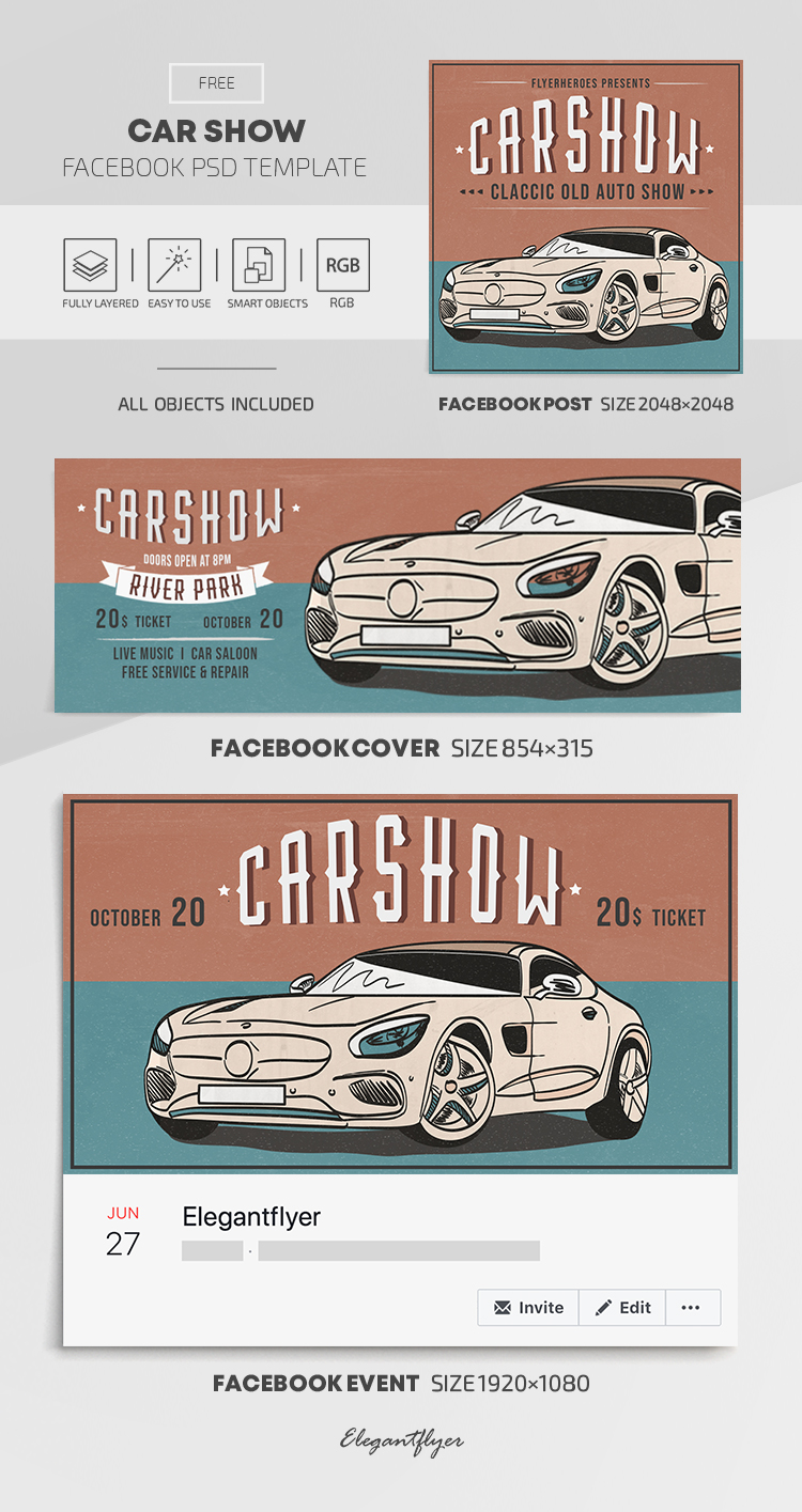 Car Show – Free Facebook Cover Template in PSD + Post + Event cover