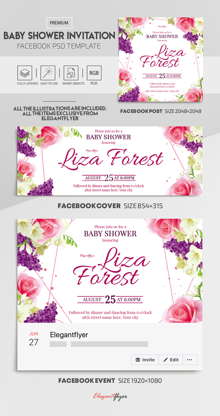 Baby Shower Invitation – Facebook Cover Template in PSD + Post + Event cover