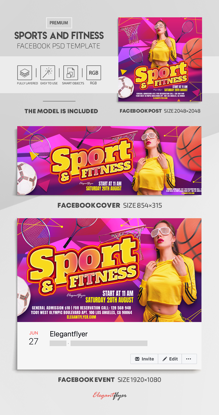 Sport And Fitness – Facebook Cover Template in PSD + Post + Event cover
