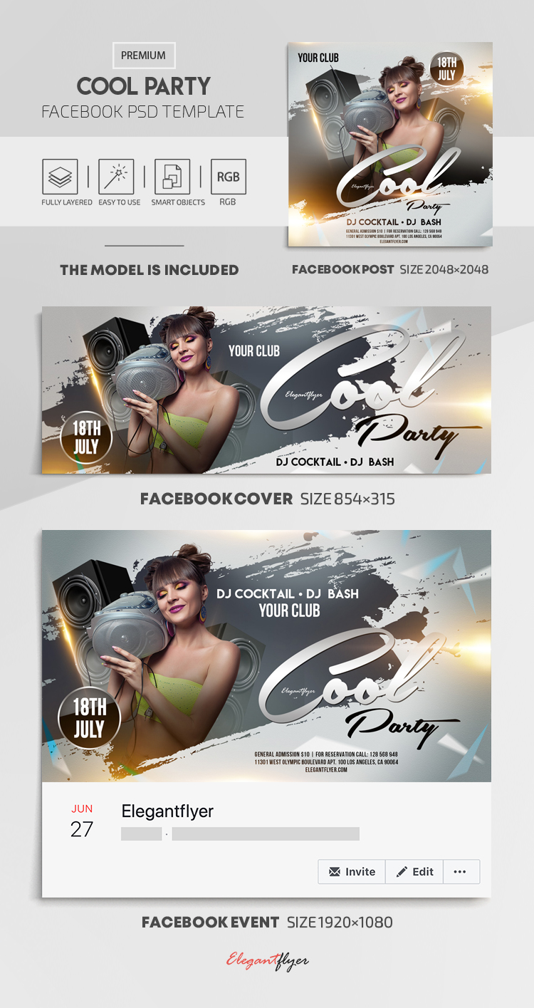 Cool Party – Facebook Cover Template in PSD + Post + Event cover