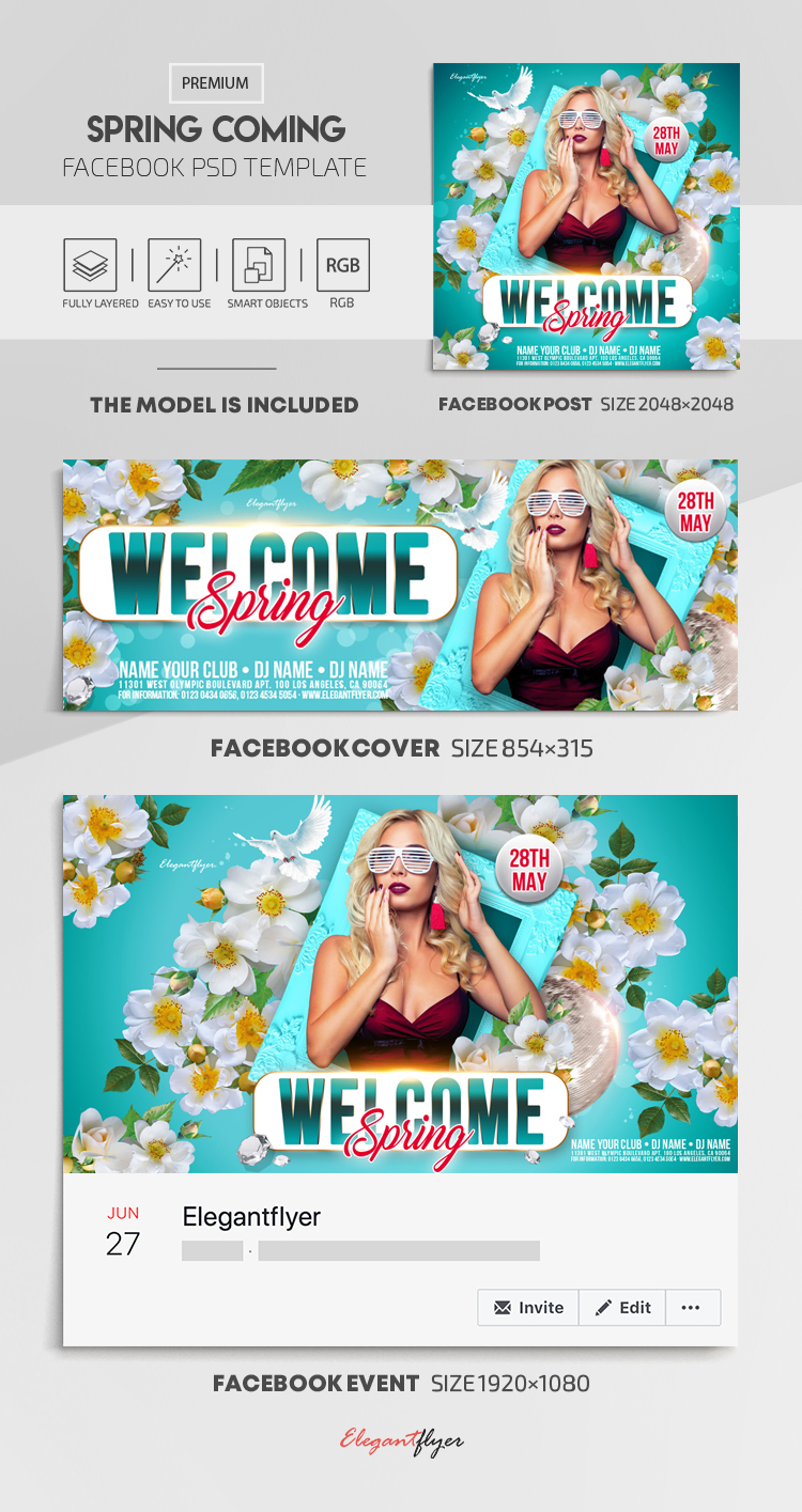 Spring Coming – Facebook Cover Template in PSD + Post + Event cover