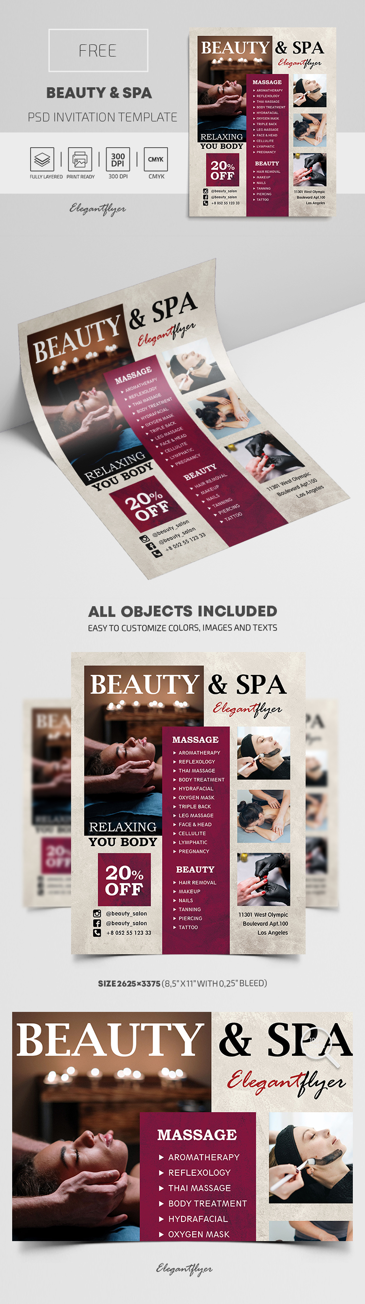 Beauty and Spa – Free PSD Invitation Template