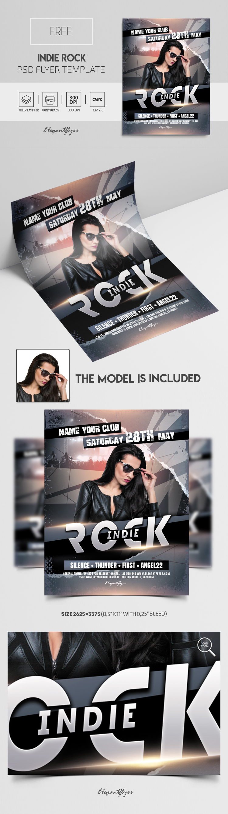 Indie Rock – Free PSD Flyer Template