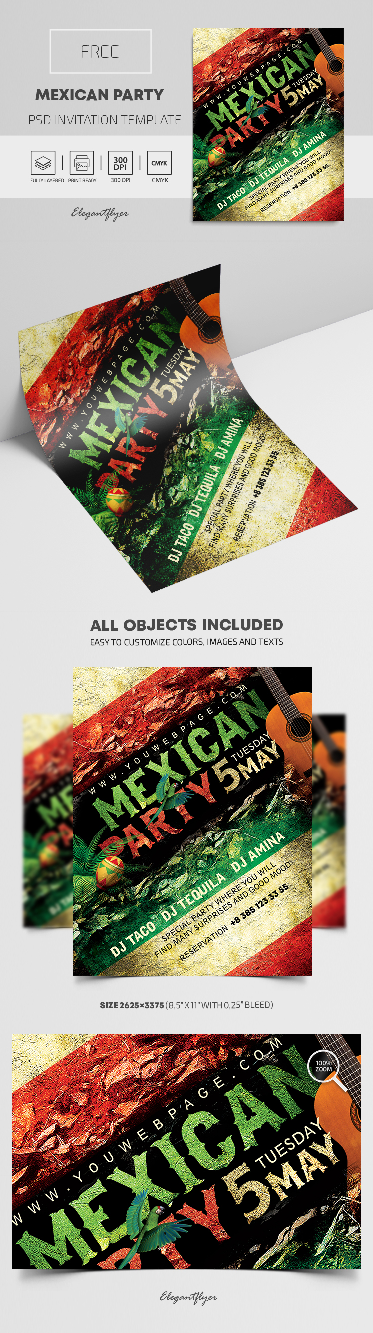 Mexican Party – Free PSD Invitation Template