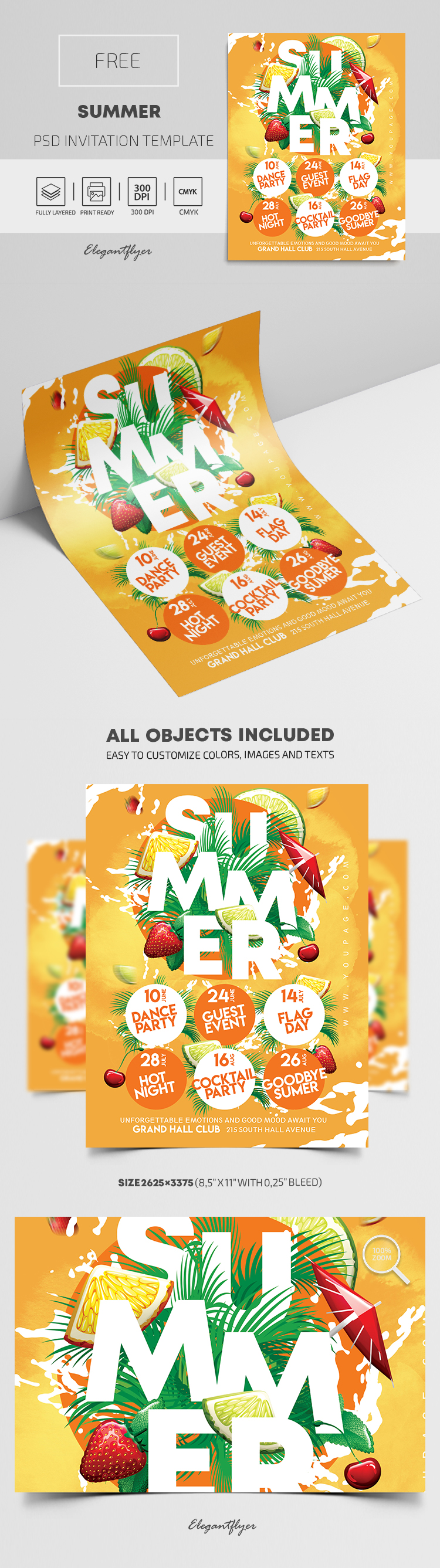 Summer – Free Invitation PSD Template