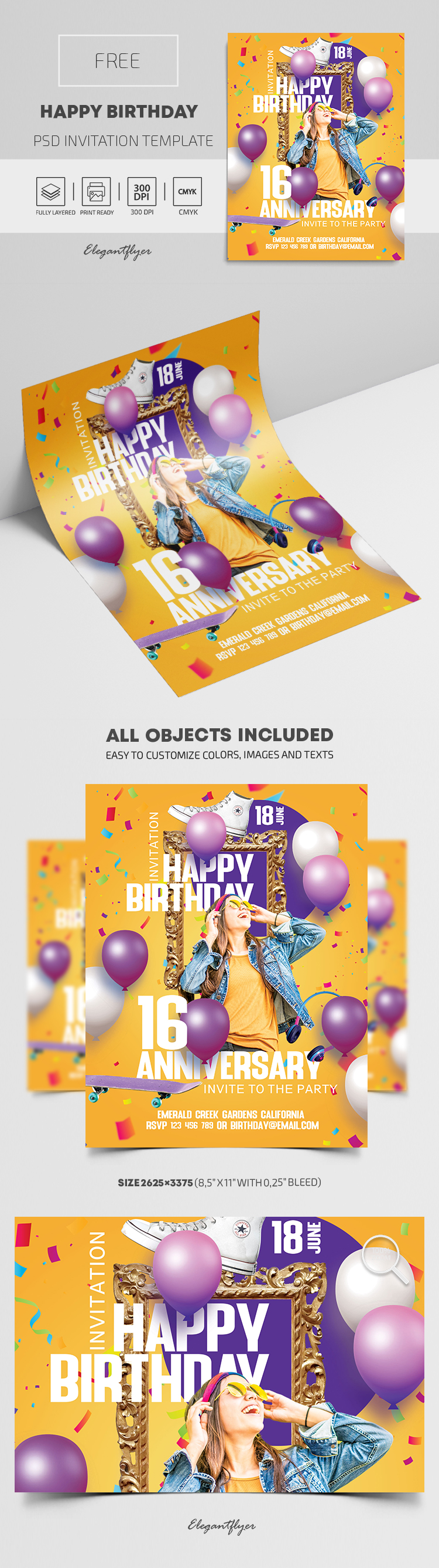 Happy Birthday – Free PSD Invitation Template