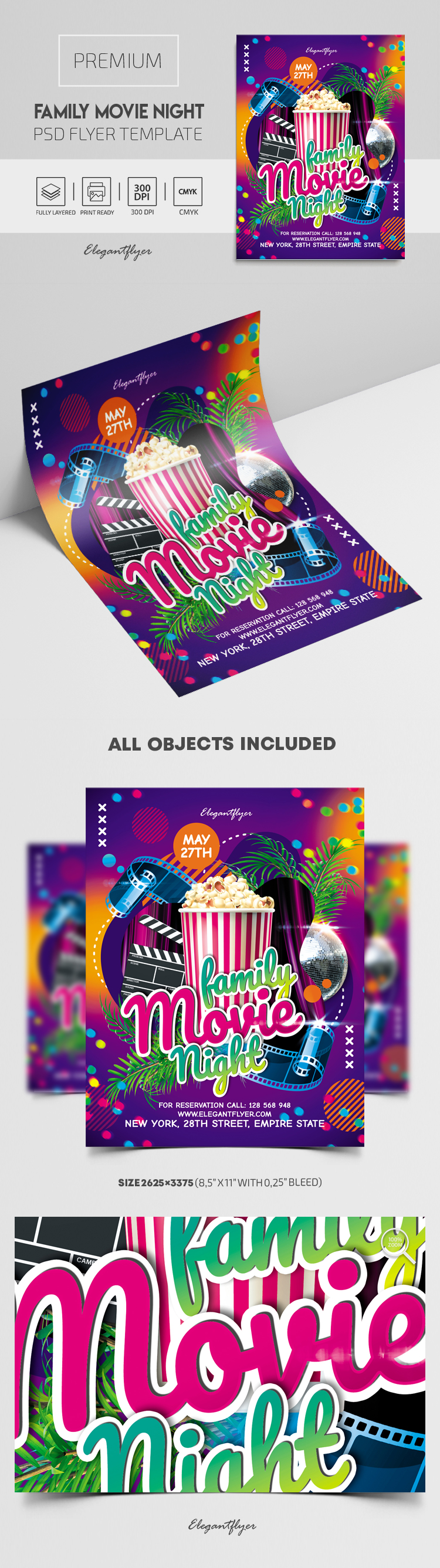 Family Movie Night – Premium PSD Flyer Template