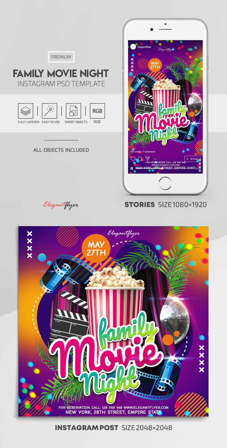 Family Movie Night – Instagram Stories Template in PSD + Post Templates