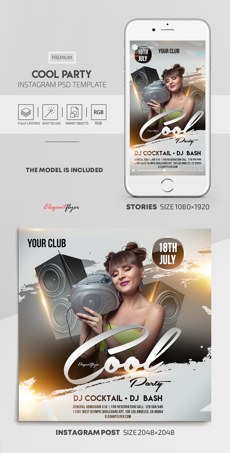 Cool Party – Instagram Stories Template in PSD + Post Templates