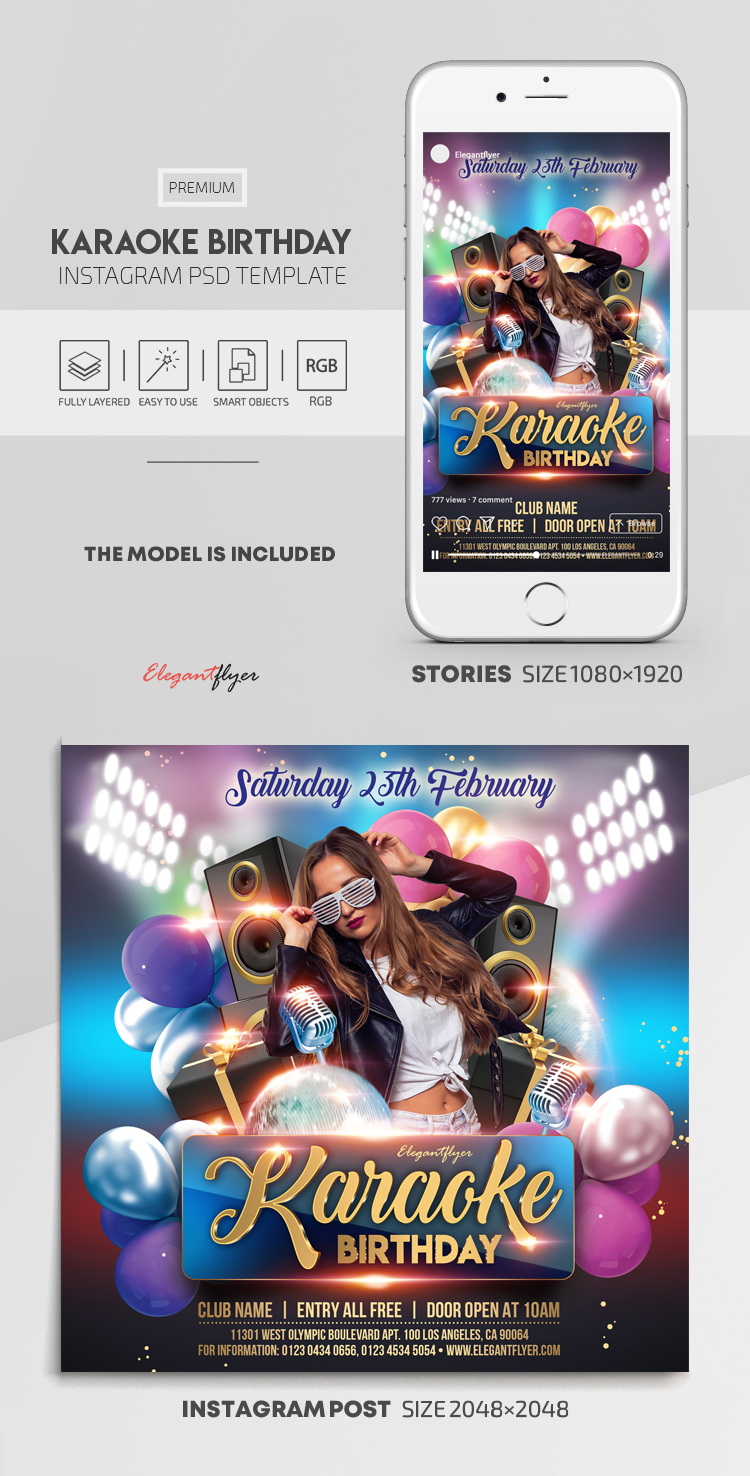 Karaoke Birthday – Instagram Stories Template in PSD + Post Templates